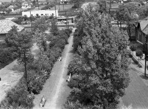 A kép 1960-ban a készült a gárdonyi katolikus templom tornyából. A fotón a templom előtti tér (ma Hősök parkja) látható.