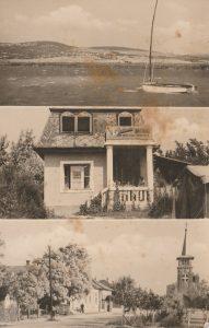 A képeslap a Velencei-tóról, egy mai napig létező, akkoriban Vadkacsa vendéglőként ismert épületről, és a posta utca főút felőli szakaszáról készült, II. világháború utáni fényképeket jelenít meg.